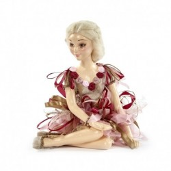 Castelana decorativa cu rochie textila deosebita 25 cm