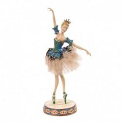 Statueta balerina costum paun din tiul cu paiete