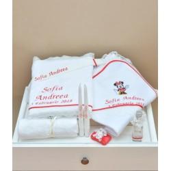 Trusou botez personalizat Minnie Mouse Rosu
