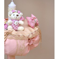 Lumanare botez ursulet roz