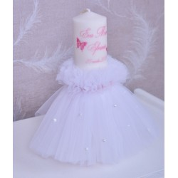 Lumanare de botez personalizata Pink Butterly