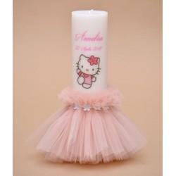 Lumanare de botez personalizata Hello Kitty