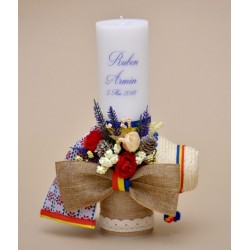 Lumanare botez Traditionala tricolor
