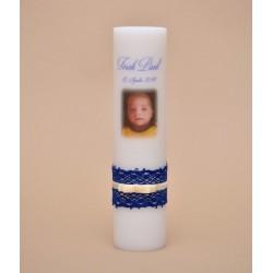 Lumanare de botez poza baiat albastra